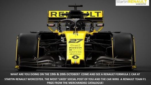 See a Renault Formula 1 Car at Startin Renault on the 19th and 20th October
