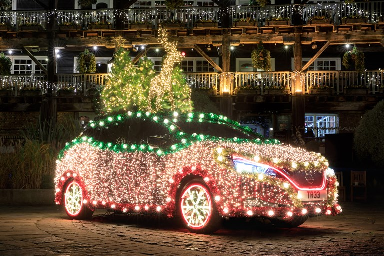 Driving Home for Christmas - Nissan Leaf Becomes Sparkling Nissan Christmas Tree, Powered by Regenerative Energy