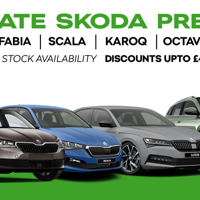 Exclusive Pre-Registered Skoda Offers Saving you up to £4,500