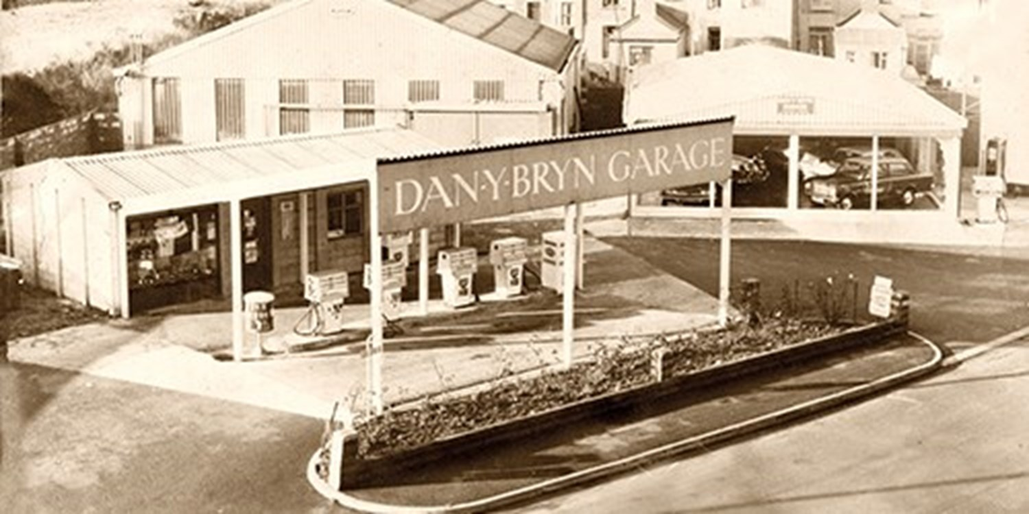 Black & white historic photo of Dan Y Bryn Garage Forecourt
