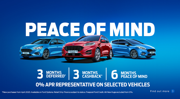 Ford Peace of Mind Offer - up to 6 months payment free finance*