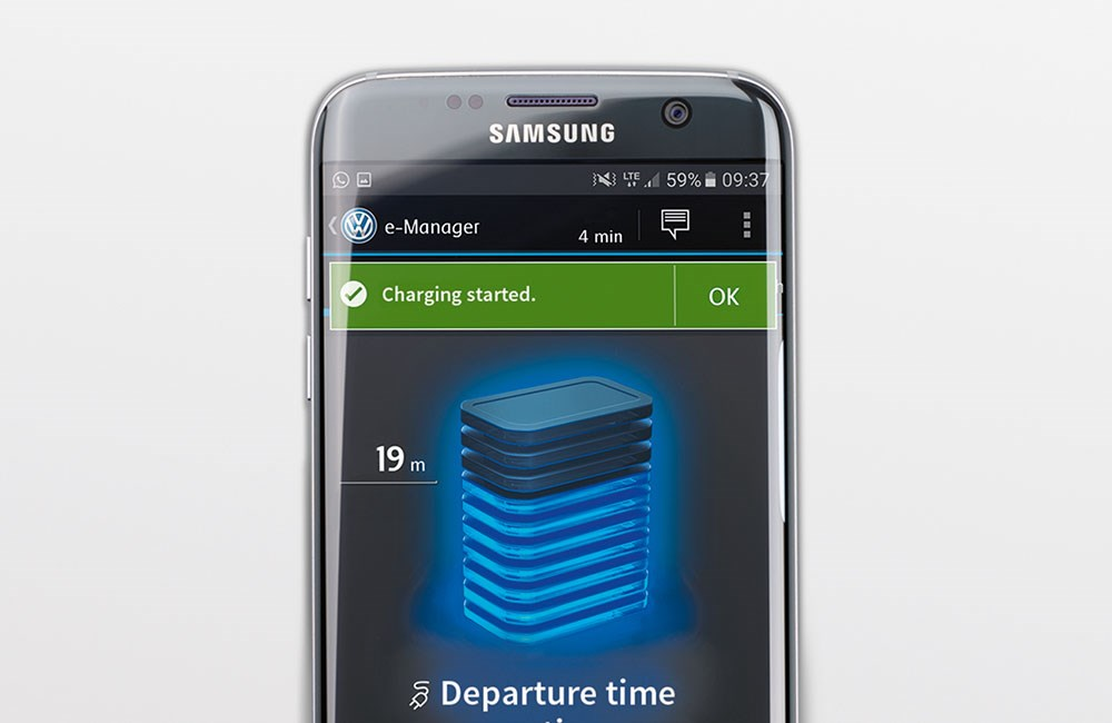 Samsung smart phone with Volkswagen App open