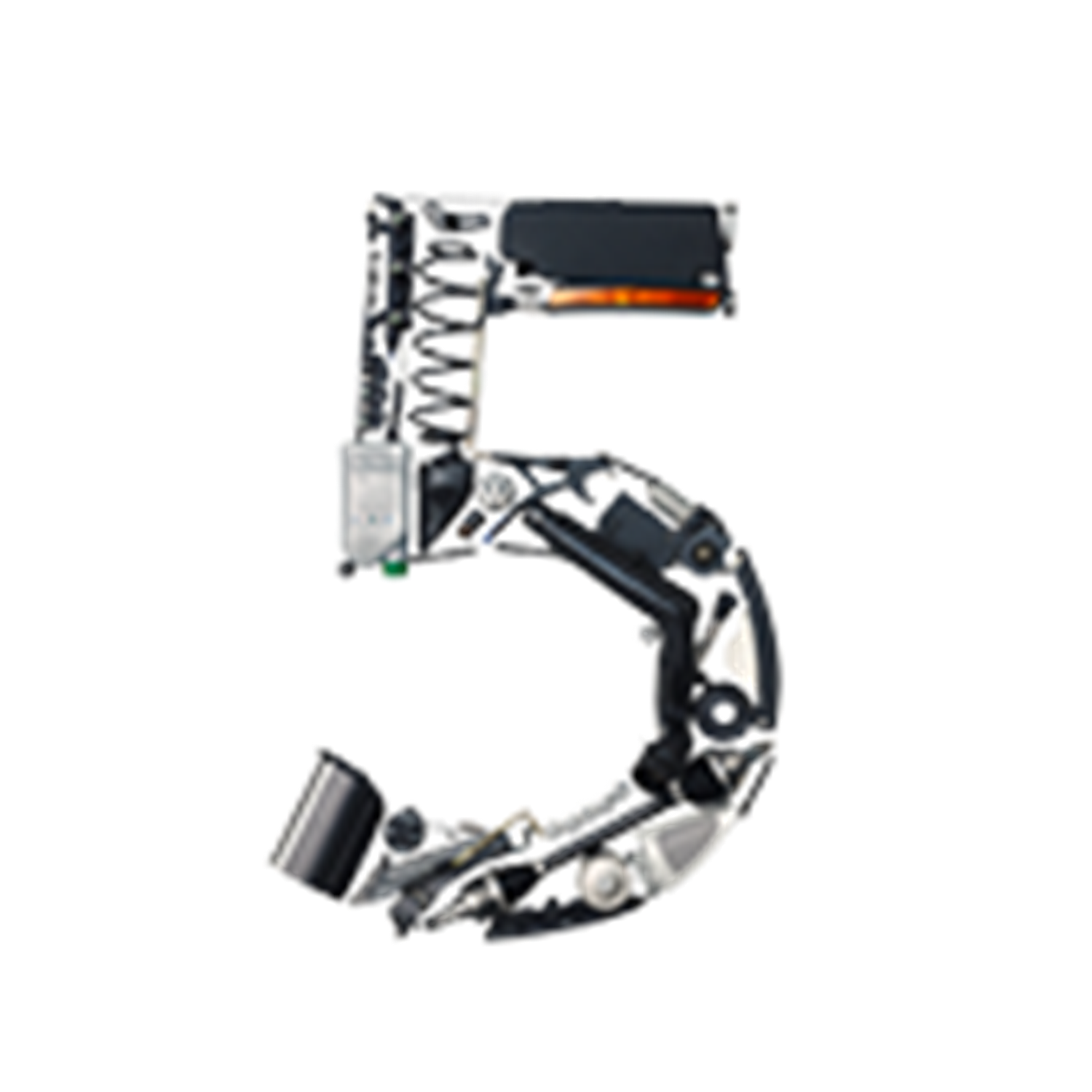 Number 5 made from car parts