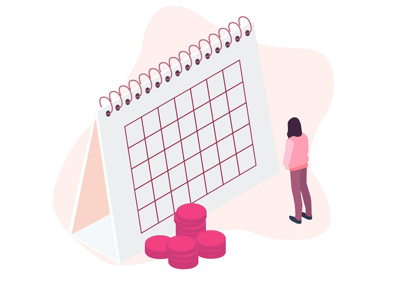 Woman stood by calendar
