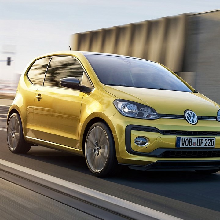 Frontal view of yellow Volkswagen up!