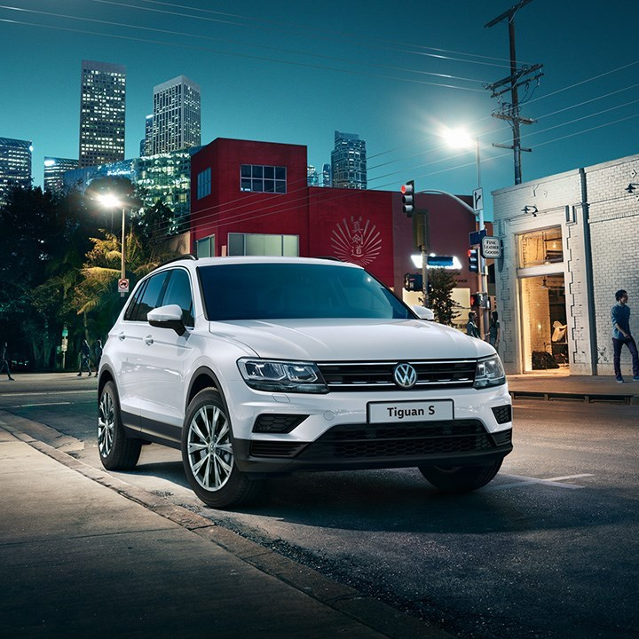 Frontal view of new white Volkswagen Tiguan