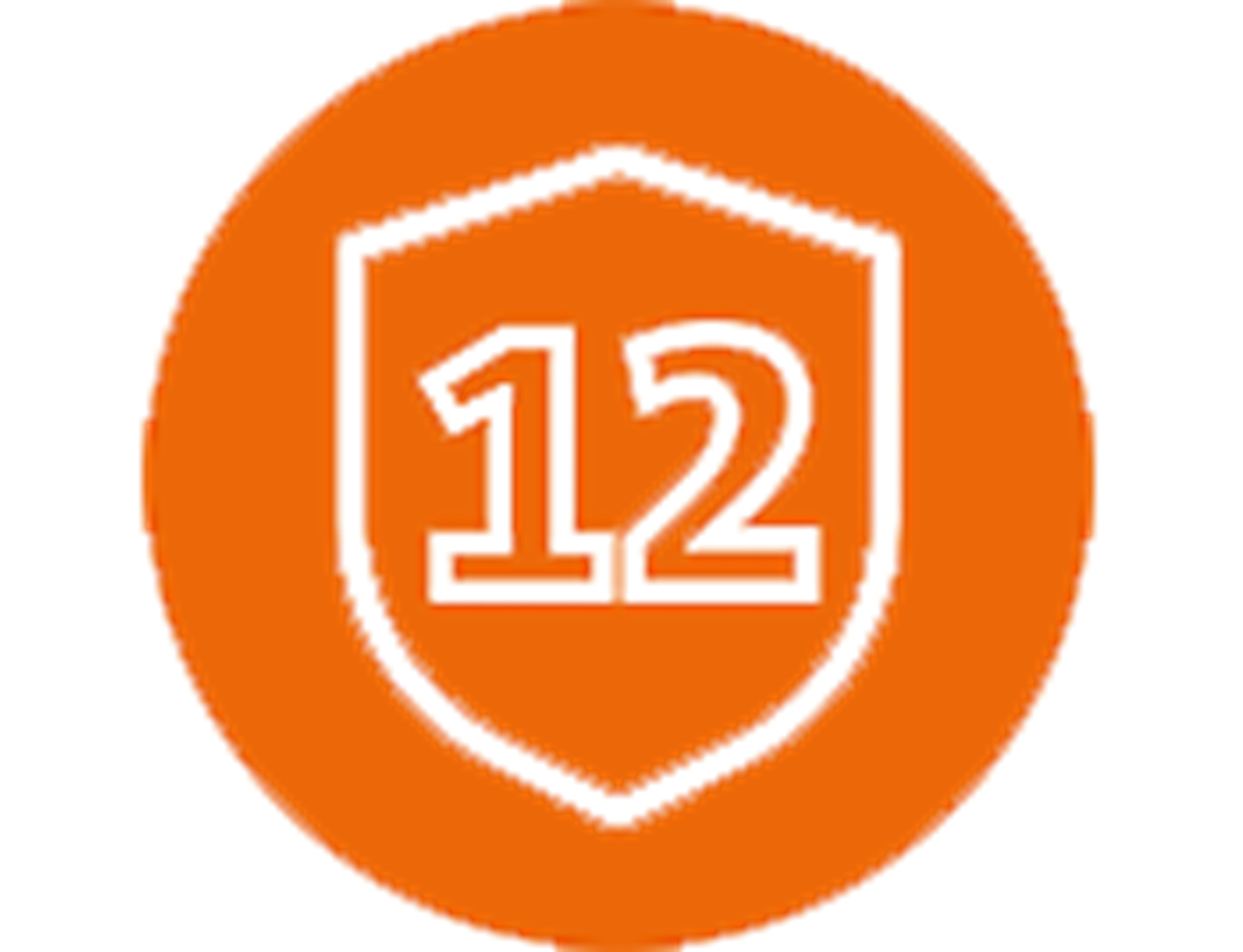 Number 12 on orange sign in a white shield
