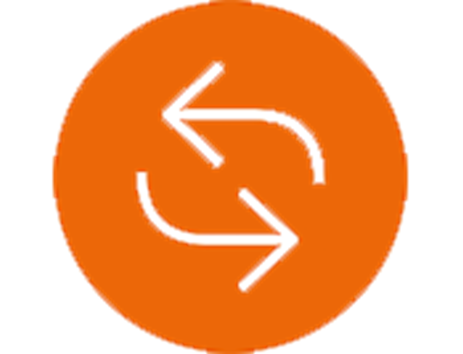 Circular arrows on orange sign