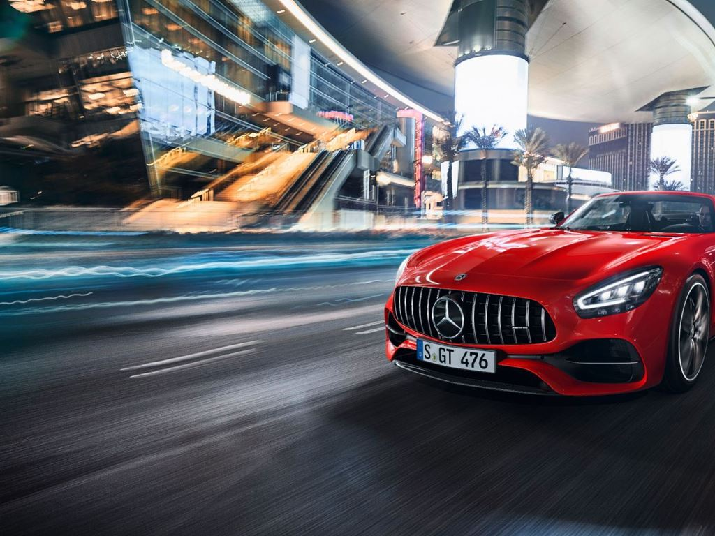Red Grey AMG GT Roadster Driving at night