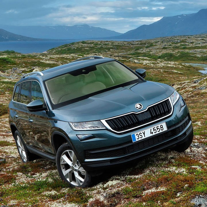 Kodiaq model, on a hill, tilted, front view of the car in blue