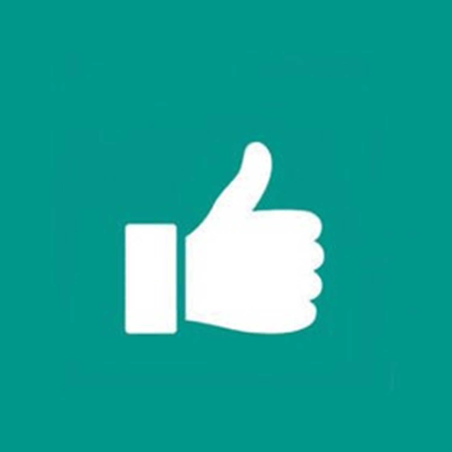 White thumbs up on green background