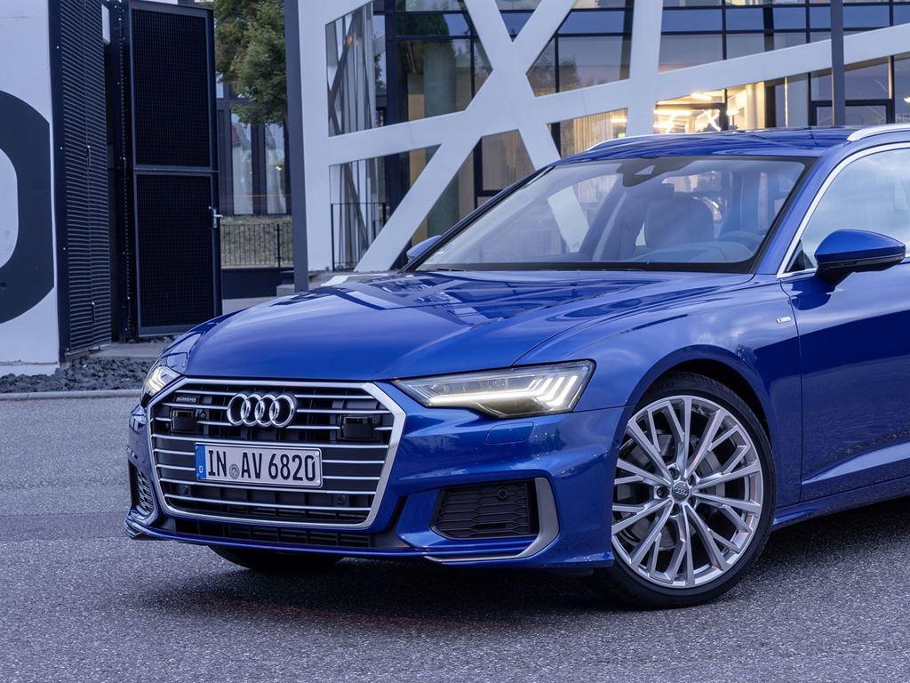 Blue A6 Avant parked