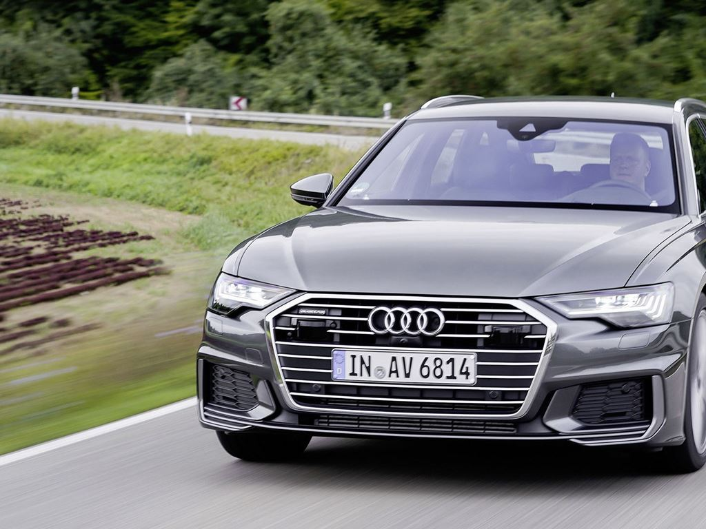 Grey A6 Avant driving
