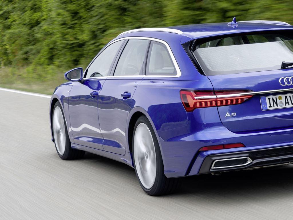 Blue A6 Avant rear view driivn