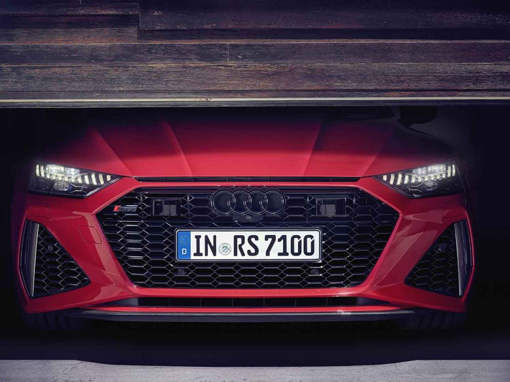Red RS 7 Sportback in garage