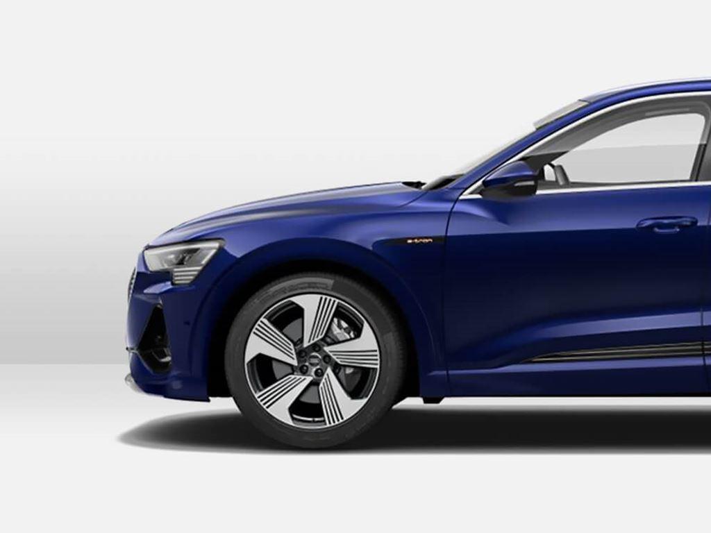 blue e-tron Sportback side view
