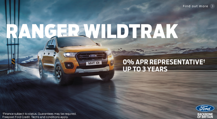 Ford Ranger Wildtrak from £319 per month with 0% APR