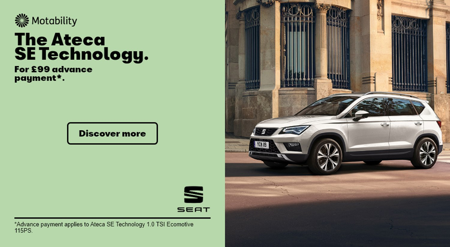 White SEAT Ateca SE Technology parked on road Motability banner