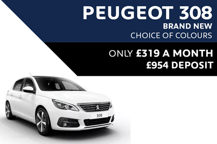 Peugeot 308 - Only £319 A Month With £954 Deposit