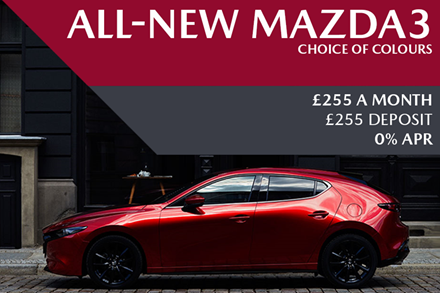 All-New Mazda3 - Now Available For £255 A Month With £255 Deposit On 0% Finance