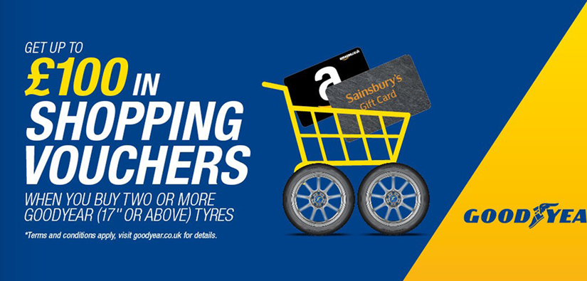 Earn up to £100 in shopping vouchers with Goodyear tyres!