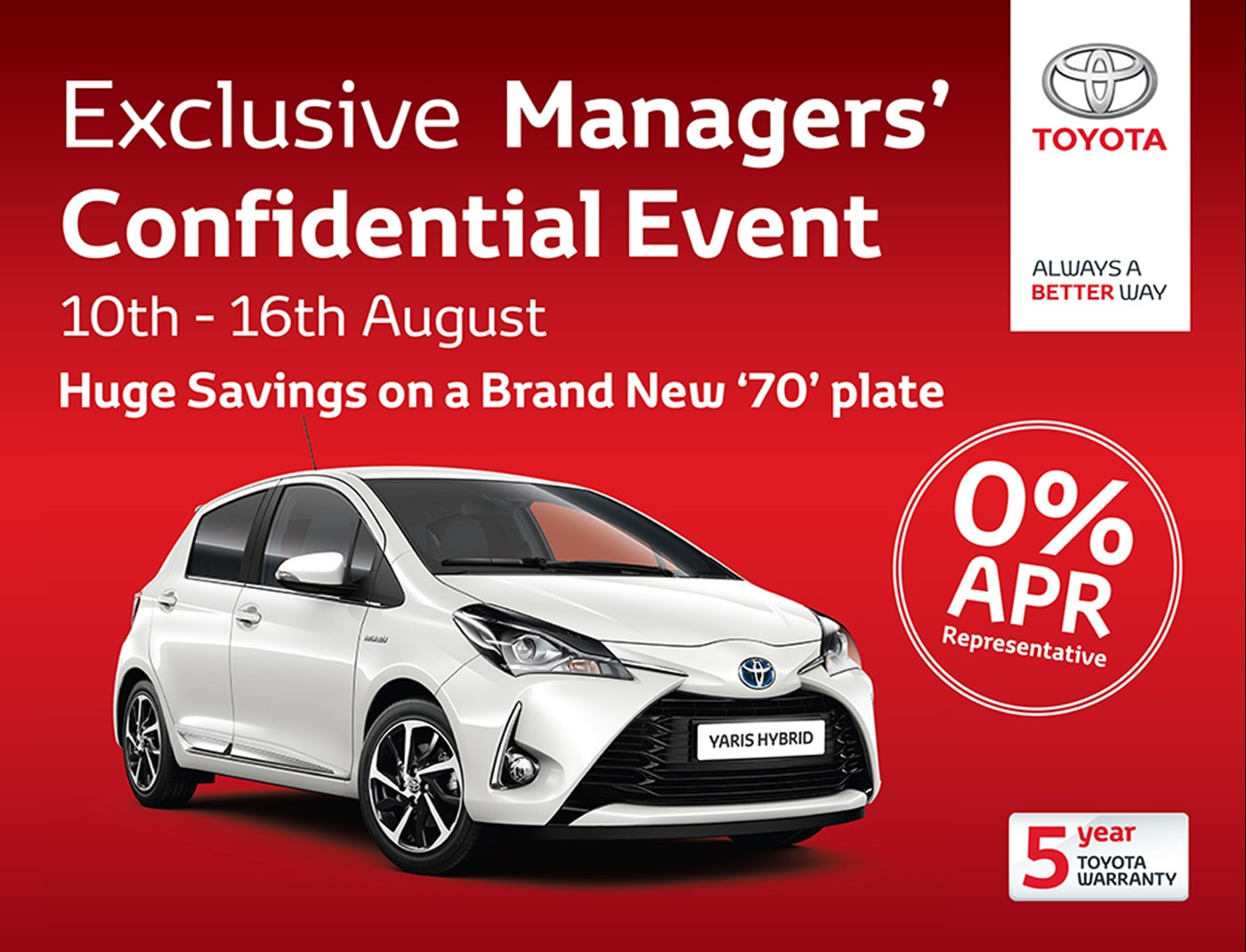 Exclusive Managers' Confidential New Car Event