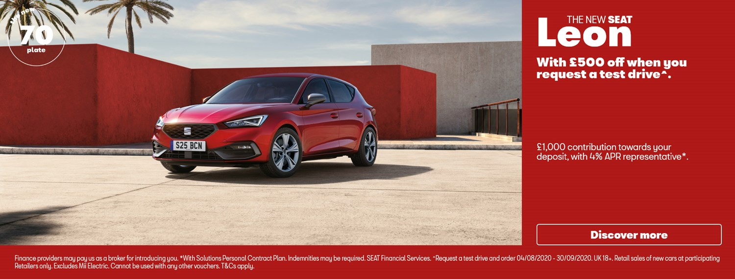 New SEAT Leon in red with offer