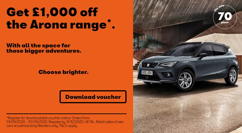 SEAT Arona offers including £1000 off and nothing to pay for 3 months