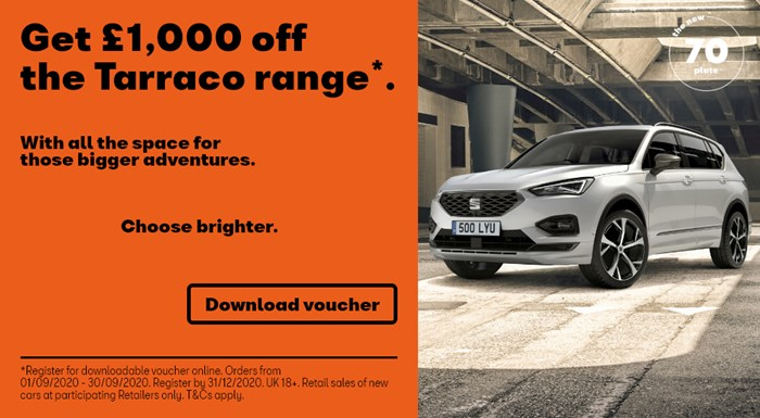 SEAT Tarraco offers including £1000 off and nothing to pay for 3 months