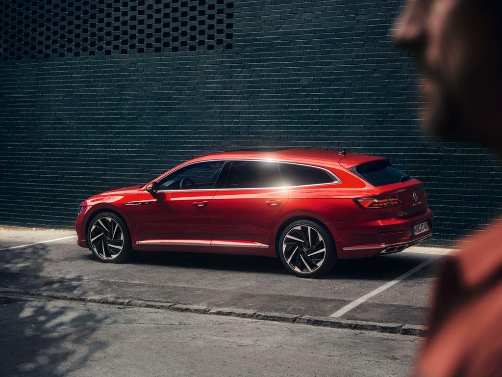 Red Volkswagen Arteon Shooting Brake side profile