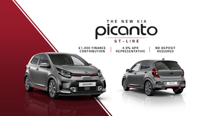 Kia Picanto with 0% APR or £1,000 deposit contribution