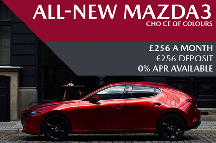 All-New Mazda3 - Now Available For £256 A Month With £256 Deposit And 0% Finance Available