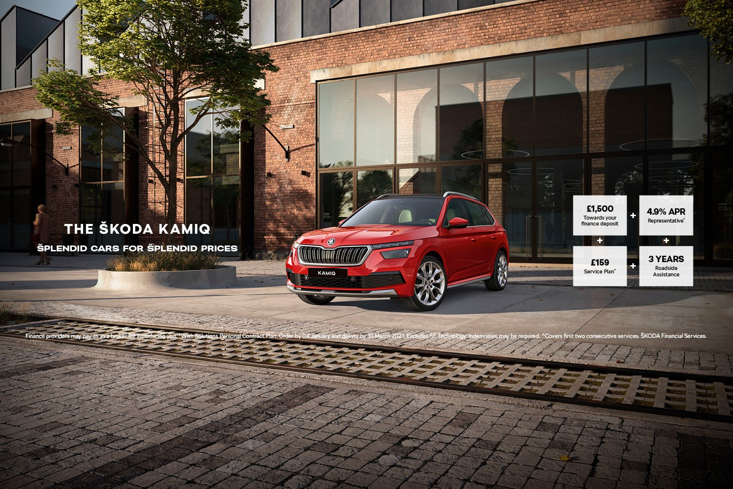 Skoda Kamiq red in front of city building with offer details