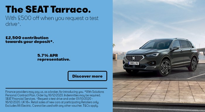 SEAT Tarraco with £2500 deposit contribution