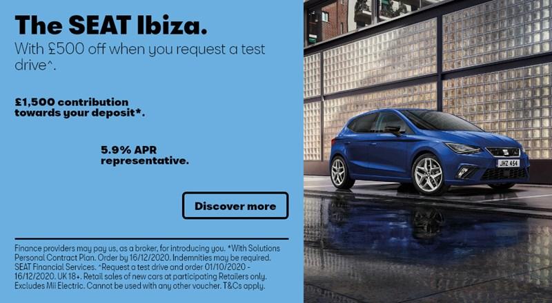 SEAT Ibiza with £1500 deposit contribution