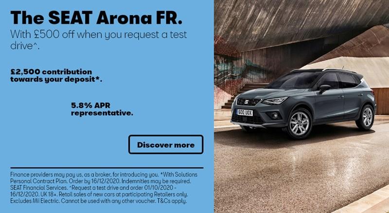 SEAT Arona with £2500 deposit contribution