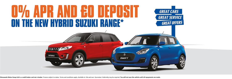 ) percent and 0 deposit on suzuki range offer