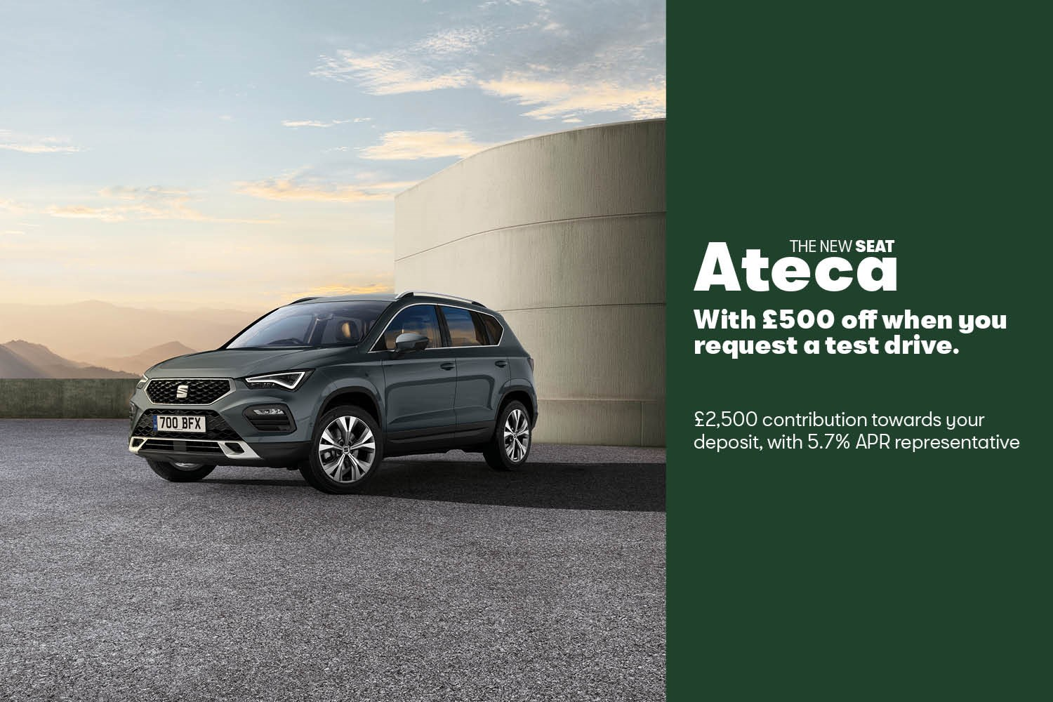 Seat ATECA offer banner £500 test drive saving, £2500 deposit contribution and 5.7% APR