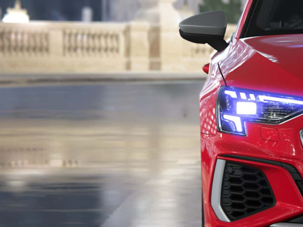 New Audi S3 Sportback in red front grille and headlights