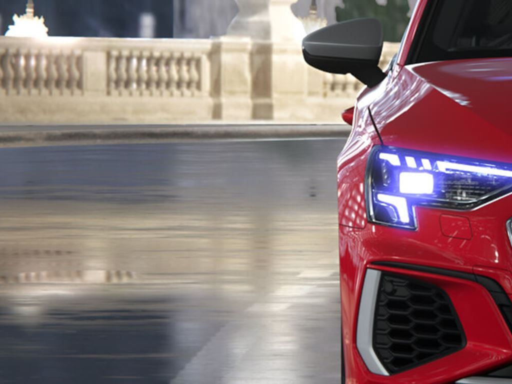 Red Audi S3 Saloon front grille and headlights