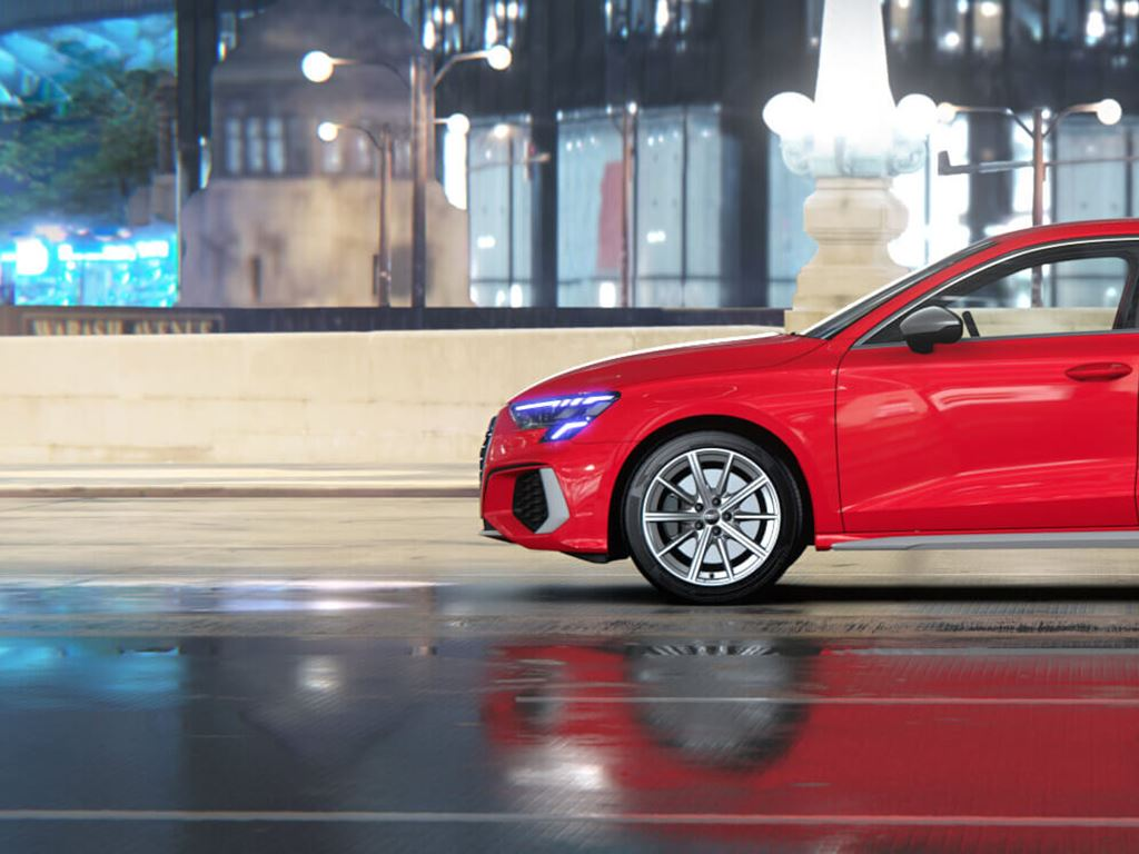 Red Audi S3 Saloon Side view