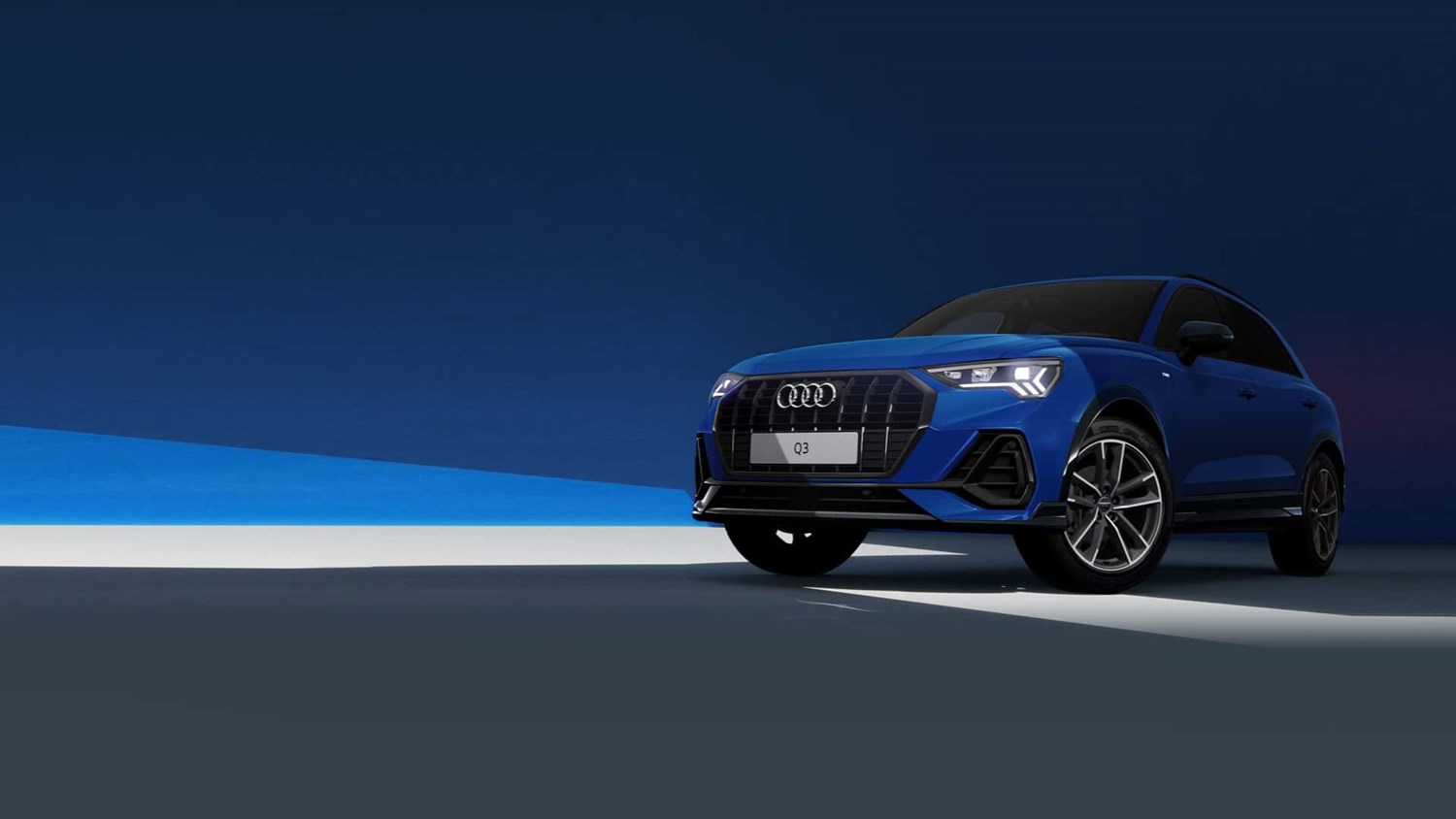 Audi Q3 Black edition in blue with blue and grey background