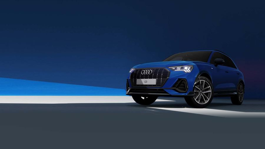 Audi Q3 Blue with blue and grey background