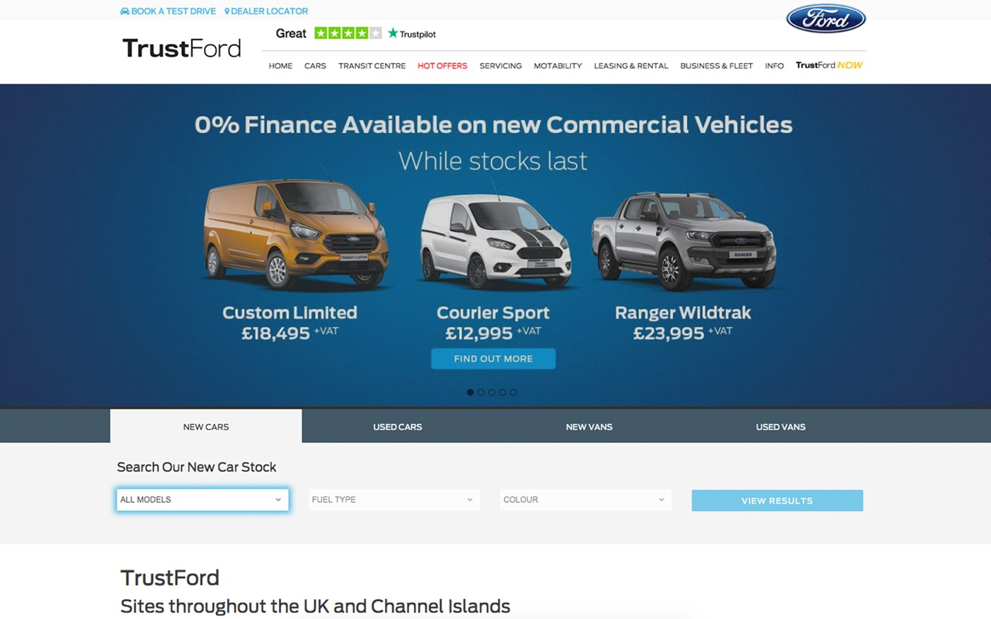 TrustFord website screenshot