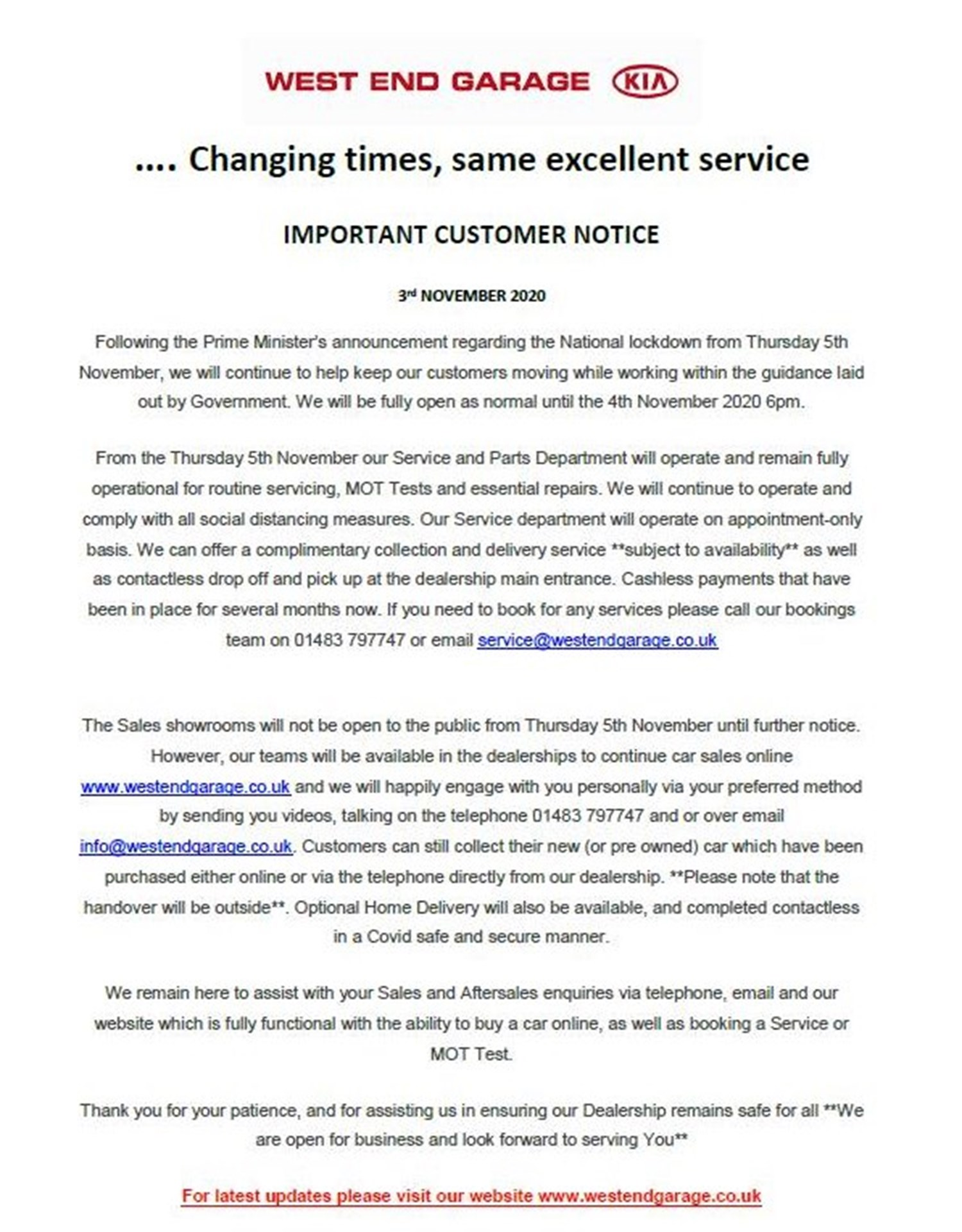Changing times, same excellent service..