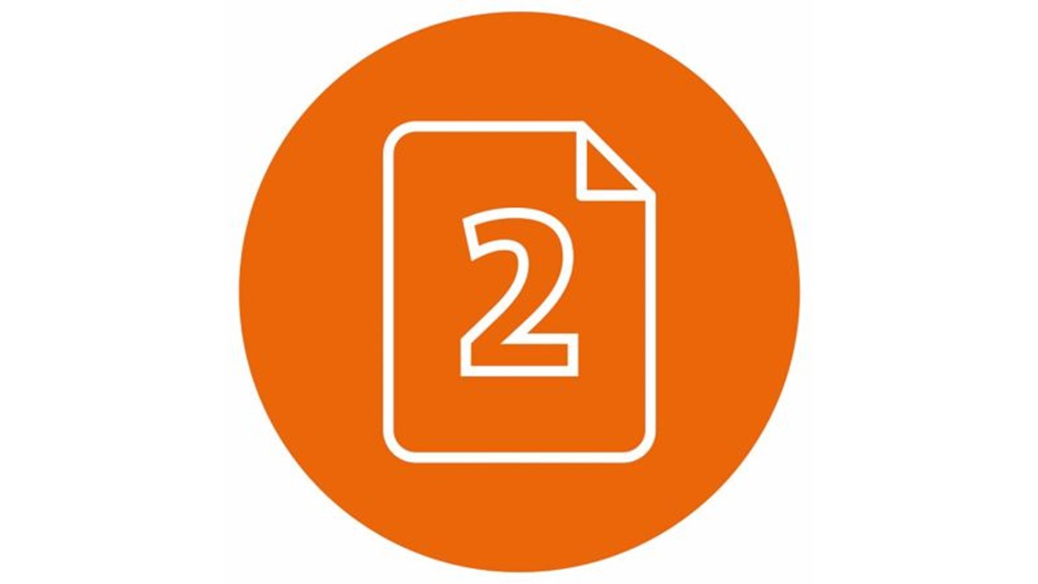 Orange circle with white icon of a two in a rectangle with the top right corner folded inwards