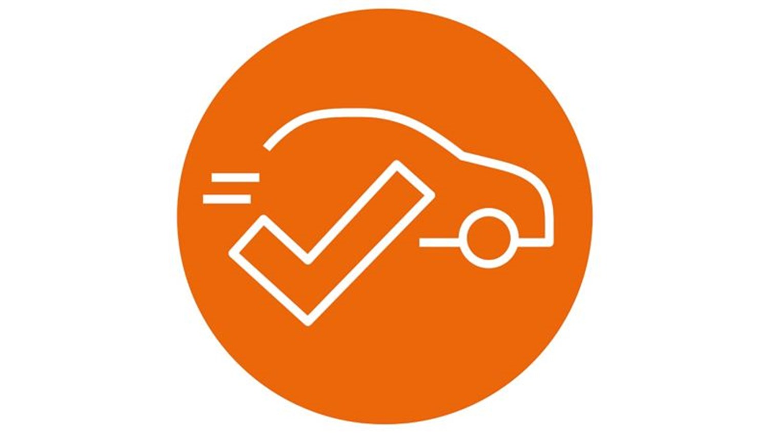 orange circle with white icon of a car with a tick