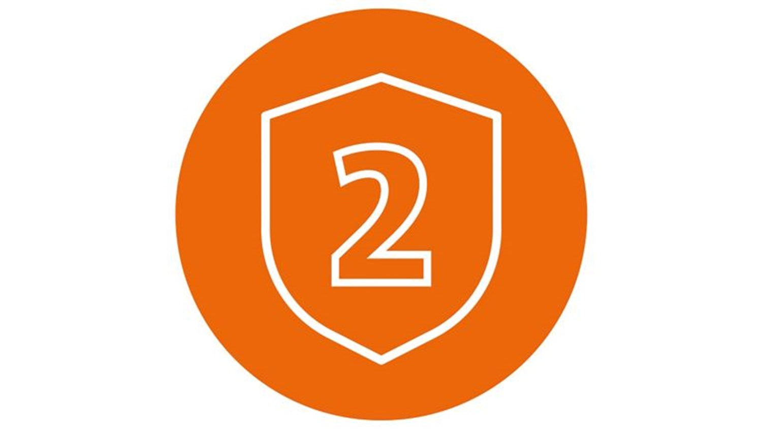 Orange circle with white icon of a two in a shield