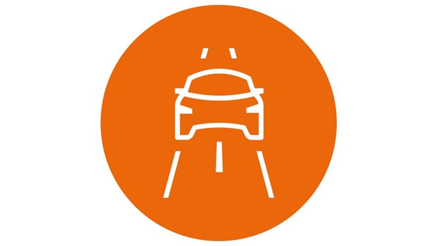orange circle with white car icon driving on a road