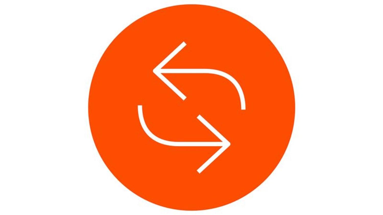 orange circle with two white arrows